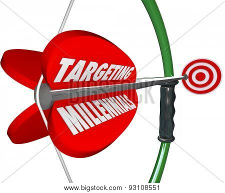 Targeting Millennials on a red bow and arrow aiming to reach a young Generation Y audience for your company, business or product