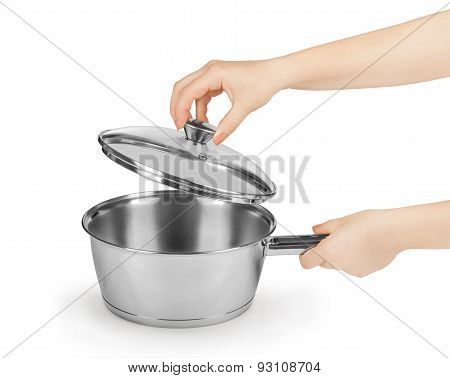 Pan In Female Hands Isolated On White