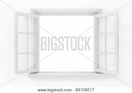Open Window In The White Wall