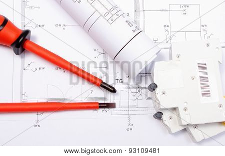 Electrical Diagrams, Electric Fuse And Screwdrivers On Construction Drawing Of House