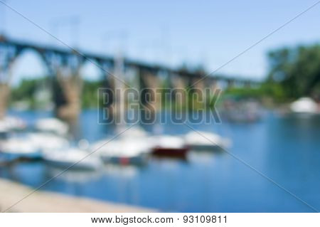 Yacht-club anchorage at arched bridge Dnepropetrovsk Ukraine