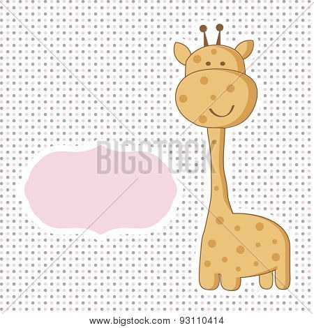 Baby girl arrival card with cute giraffe on polka dot seamless pattern.