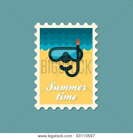 Diving Mask Flat Stamp, Summertime