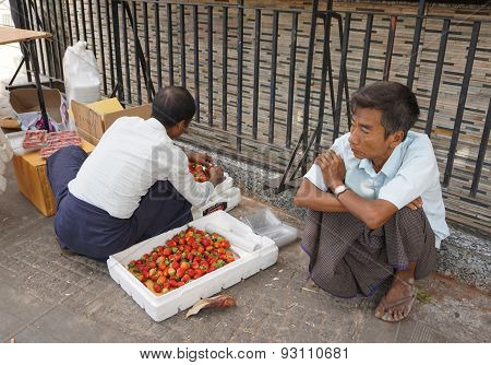 Burmese Men Selling Fresh Fruits At Bogyoke Market