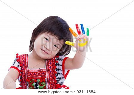 Adorable Little Asian (thai) Girl Painting Her Palm, Isolated On White Background