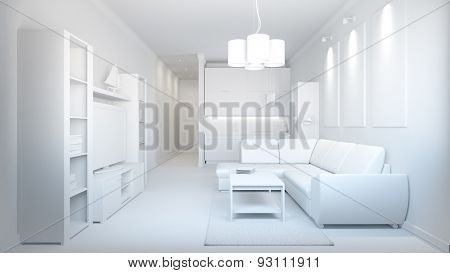 3D Interior Rendering Of A Small Loft Without Textures