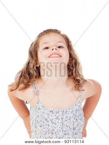 Cute little girl with three year old fooling on a white background