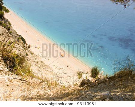 Beach Egremni in Lefkada Greece. A beautiful exotic beach with white sand.
