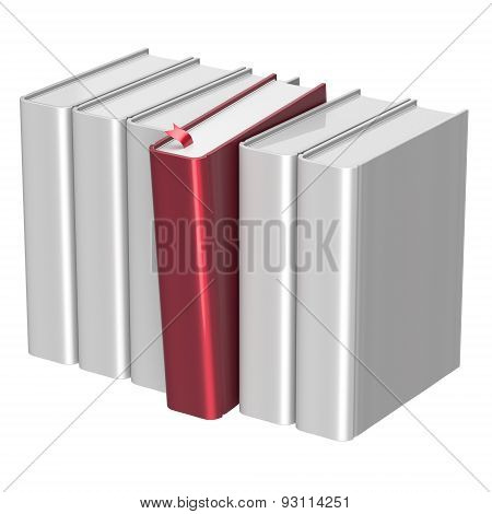 Books White Selecting Bookshelf Row One Red Blank Selected