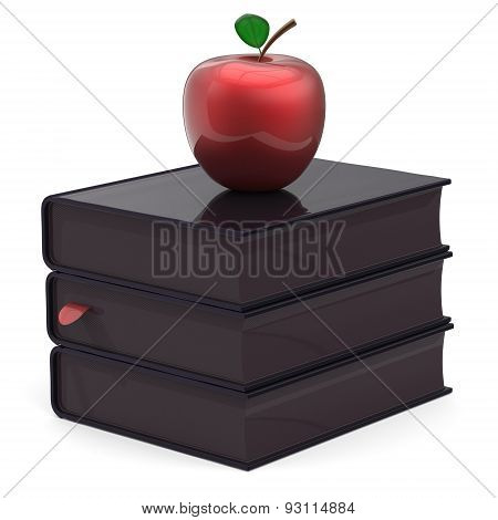 Black Books Red Apple Bookmark Textbook Stack Education