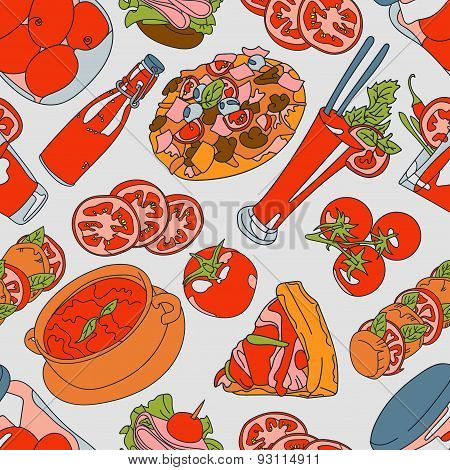 Tomato. Ketchup. Pizza. Vector seamless illustration (texture) with a picture of tomatoes, tomato ju