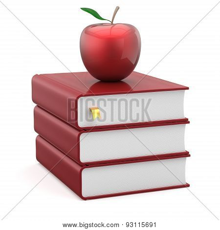 Books Textbooks Red Blank And Apple Stack Studying Symbol