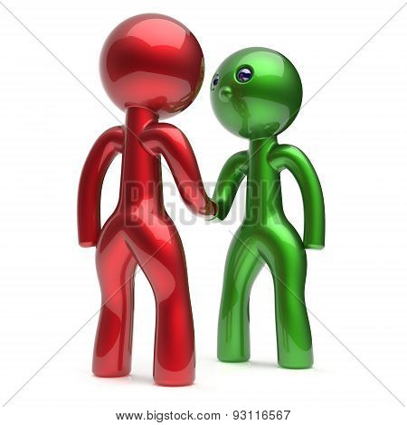 Handshake Two Men Cartoon Characters Deal Partners Icon