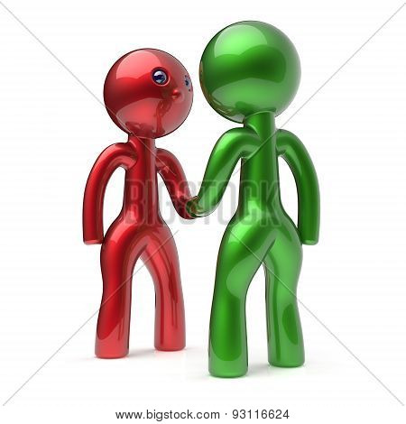 Handshake Cartoon Characters Two Men Shaking Hand Icon