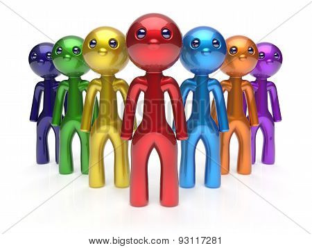 Teamwork Cartoon Characters Friendship Men Crowd Leader