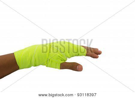 Hand Tied Yellow Elastic Bandage