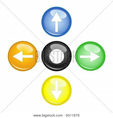 Four Multi Color Arrow And Orb