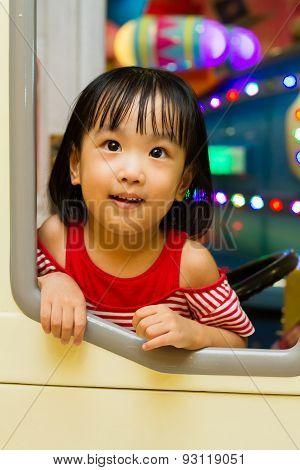 Little Asain Chinese Bus Driver