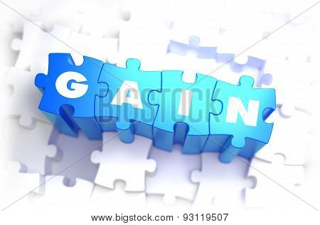 Gain - White Word on Blue Puzzles.