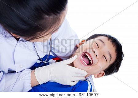 Young Dentist Checking Oral Health Of Child, Isolated On White Background