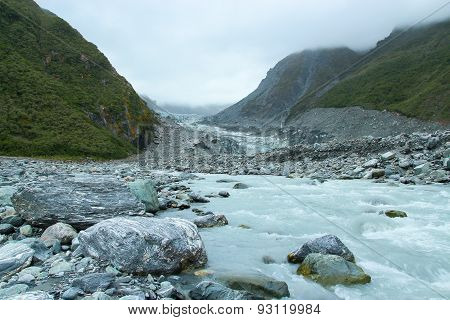 Summer Stream In Fox Glacier Valley, New Zealand
