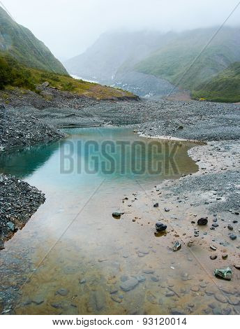 Water Pool In Summer Rain In Fox Glacier Valley, New Zealand