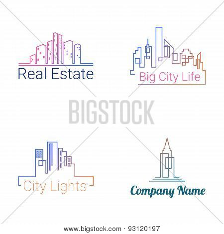 City buildings logo silhouette icons. Vector