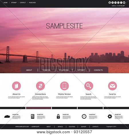 One Page Website Template with Header Design - San Francisco Bay