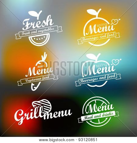 Different menu labels design set. Vector lineart concept