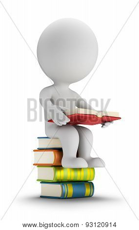 3D Small People Sitting On The Books
