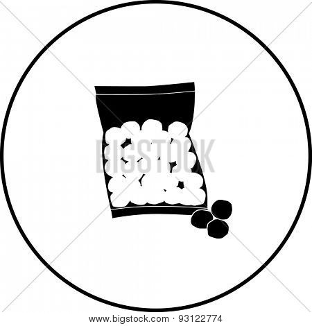 cotton balls bag symbol