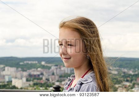The Child Looks At The City From Height