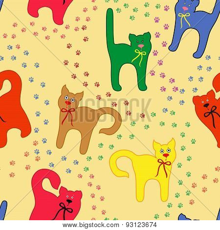 Funny Cats Over Traces Background