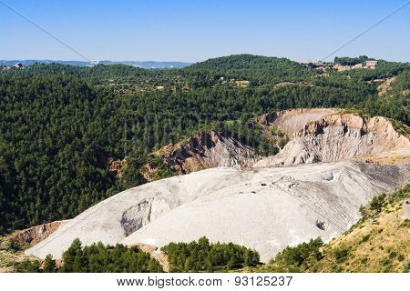 Salt mines open pit mining at Cardona Spain