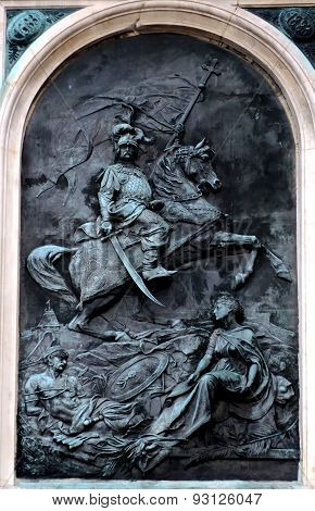The relief at St Mary's Church in Krakow