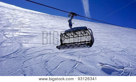 Empty Ski Cable Car At Snow Mountains Titlis