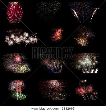 Composite Of Fireworks.