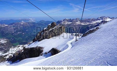 Scene Of Snow Mountains Titlis And Cable Car