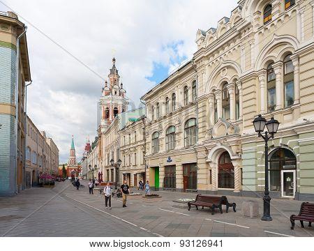 Nikolskaya Street And Moscow Kremlin