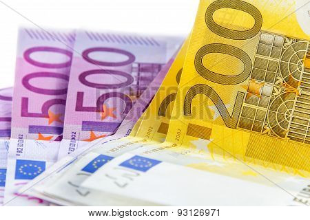 Euro Banknote From 200 And 500