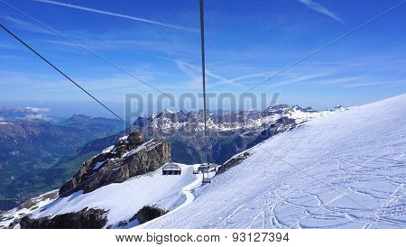 Scenery Of Snow Mountains Titlis And Cable Car