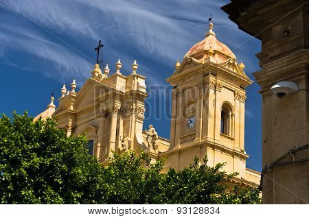 Architectural details of baroque cathedral in Noto, Sicily