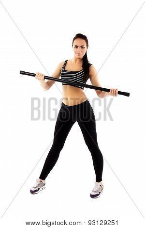 Slim Girl Doing Gymnastics Isolated On White