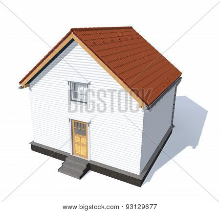 Architecture Model House Red  Isolated In White