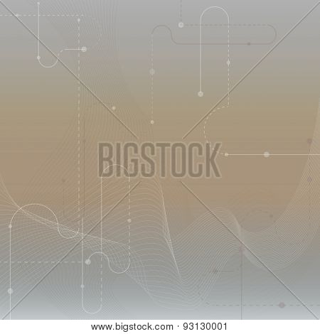 Techno Vector Abstract Blurred Background With Soft Lines. Cyberspace.