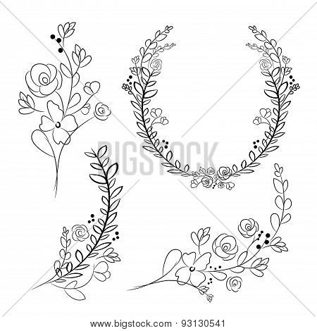 Vector Wreaths And Laurel Wreaths. Round Flower Vector Frames. Hand Drawn Design Elements Set.