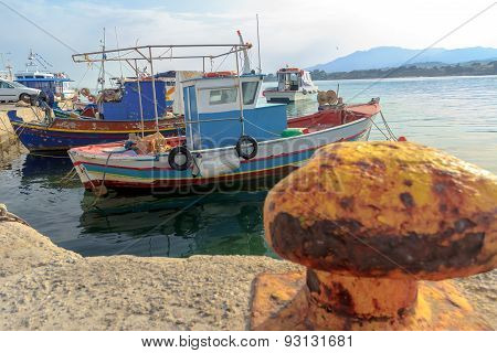 Greek Fishing Moored Motor Boats Floating Near Concrete Mastihari Bay On Greek Kos Island