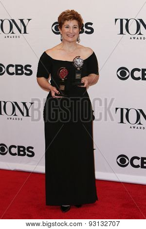 NEW YORK-JUN 7: Lisa Kron holds the trophy at the American Theatre Wing's 69th Annual Tony Awards at Radio City Music Hall on June 7, 2015 in New York City.