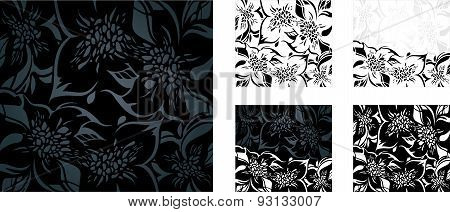 Black and white floral holiday background set