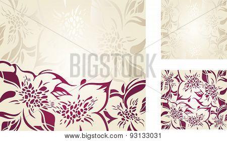 Ecru floral decorative holiday background set